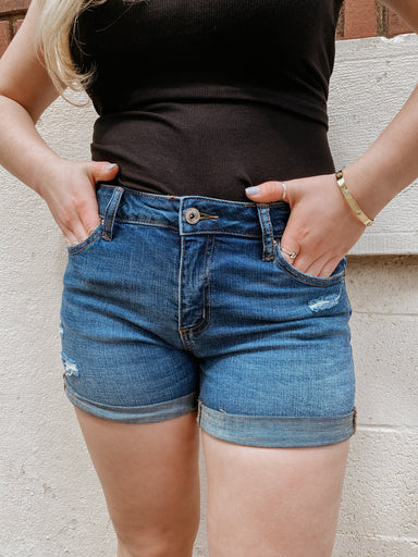 Rolled Mid-Rise Denim Shorts in Dark Wash - Sophie