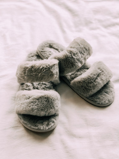 Double Strap Fuzzy Slippers - Sophie