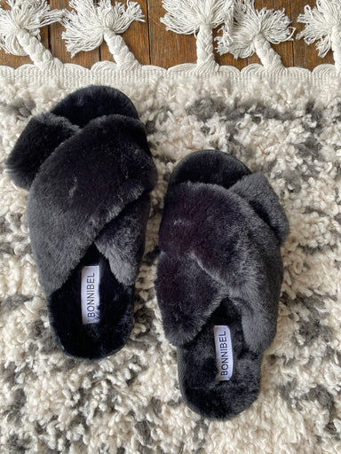 Criss Cross Fuzzy Slippers - Sophie