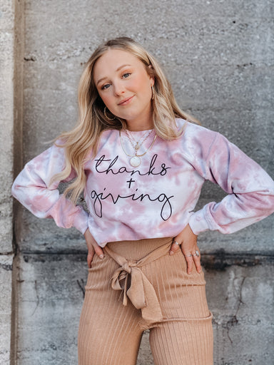 Sophie Thanks + Giving Tie Dye Sweatshirt Apparel - Tops - Graphics - Sophie