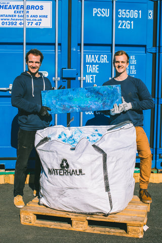 Harry and Gavin With a Plastic Block of 6000 Recycled Facemasks