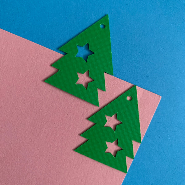 Christmas TREE earrings : I was a bouncy castle : green - Stellen UK
