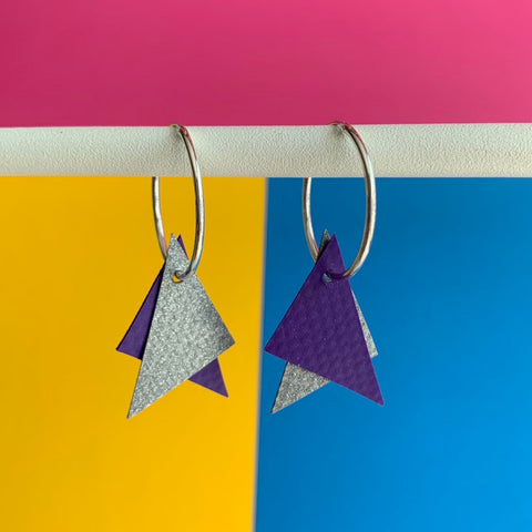 TRIANGLE Earrings : I was a bouncy castle : Grey + Purple - Stellen UK