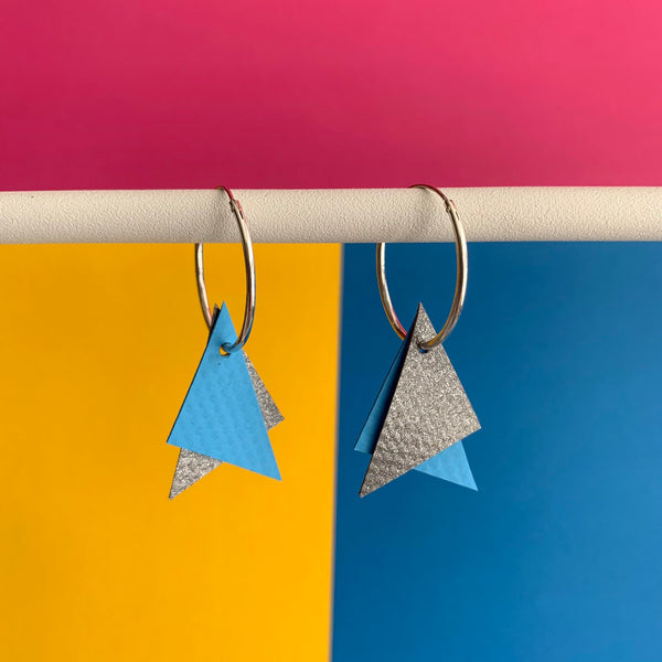 TRIANGLE Earrings : I was a bouncy castle : Grey + Blue - Stellen UK