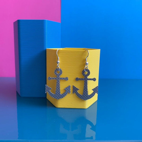 ANCHOR earrings : I was a bouncy castle : sparkly grey - Stellen UK