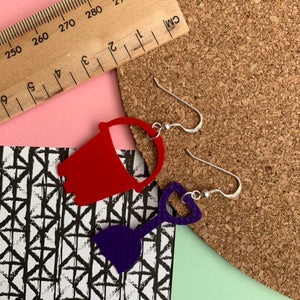 BUCKET AND SPADE Earrings : I was a bouncy castle : Purple + Red - Stellen UK