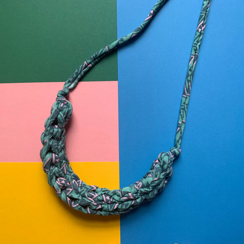 CURVE necklace : Geometric teal and pink - Stellen UK
