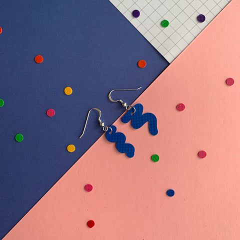 SQUIGGLY earrings : I was a bouncy castle : blue - Stellen UK