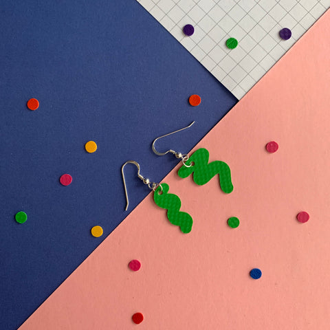 SQUIGGLY earrings : I was a bouncy castle : green - Stellen UK