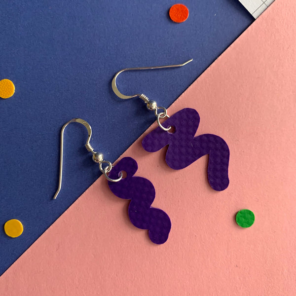 SQUIGGLY earrings : I was a bouncy castle : purple - Stellen UK