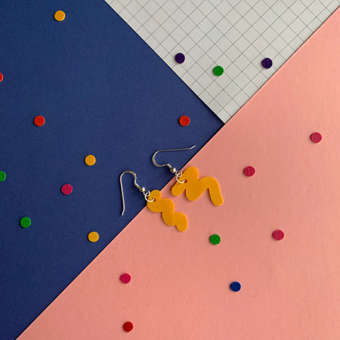 SQUIGGLY earrings : I was a bouncy castle : yellow - Stellen UK