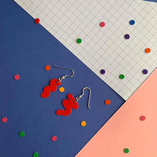 SQUIGGLY earrings : I was a bouncy castle : red - Stellen UK