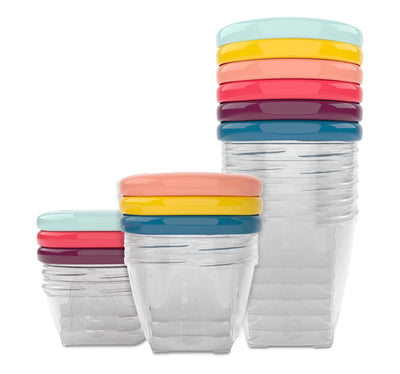 Airtight plastic container with screw on lid. BPA free plastic food liquid storage container. Leak proof storage bowls for baby food.