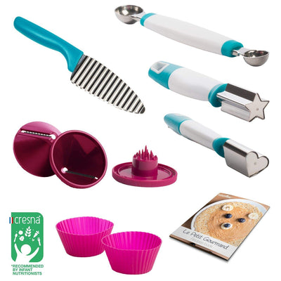 Cooking ware set. Food stamper. Heart shaped cutter. Star shaped cutter. Cook book included with recipe book. Cooking knives set. Cooking set for childrens food. Melon scooper. Babymoov cooking set.