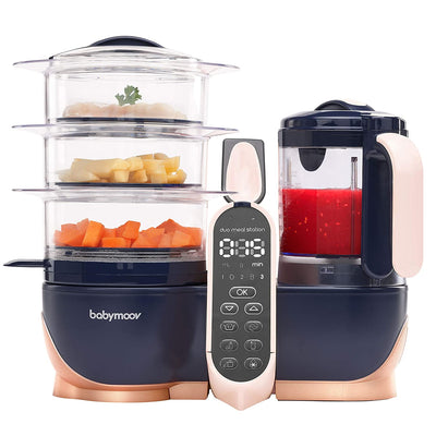 Easily prepare, make, and store nutrient-rich and wholesome baby food.   create a supply of nutritious baby food. Baby Food Prep System. Baby food processor with steamer and immersion blender. 3 steaming baskets. Baby and adult food processor. Food prep machine.  Navy blue and rose gold sleek design.