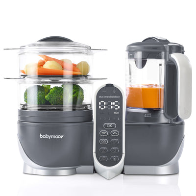 Best food processor to blend steam warm defrost sterilize and puree. Food maker for babies. Steam sweet potatoes our apples and blend it into a puree! Double storage food processor with two steaming baskets. Juice collector in the food maker. The duo meal station food processor. One step baby food maker.