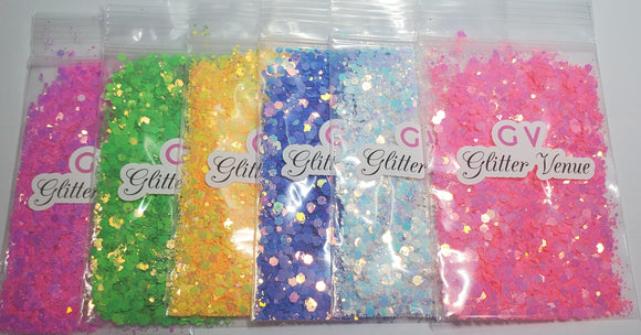 Chunky hexagon glitter collection