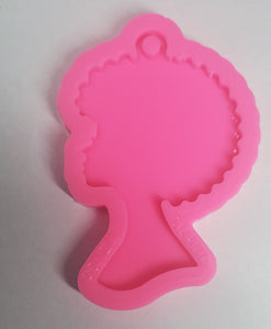 Girl with afro keychain silicone mold
