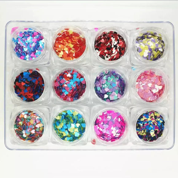 Kit of 12 Heart shapped glitter sequins