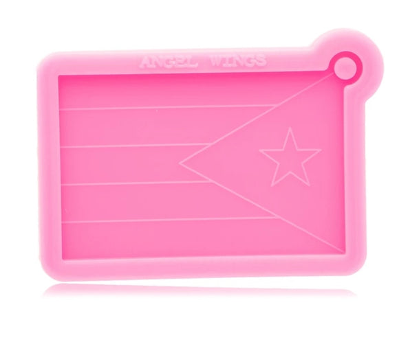 PR flag silicone mold for keychain or ornament