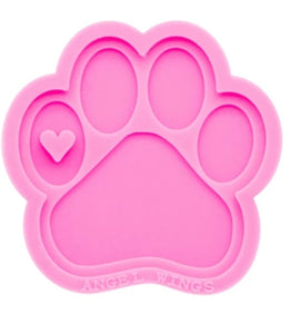 Dog paw keychain or ornament silicone mold