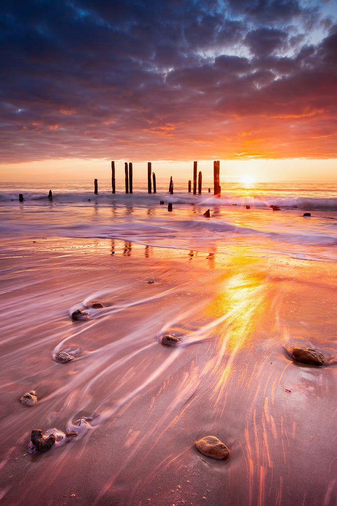 Sunset over Port Willunga sticks