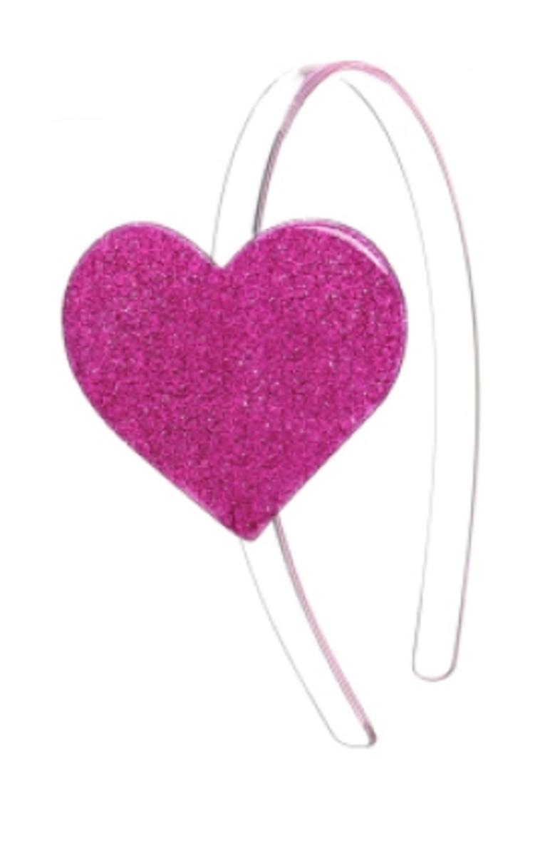Cece Big Heart Headband - Glitter Pink
