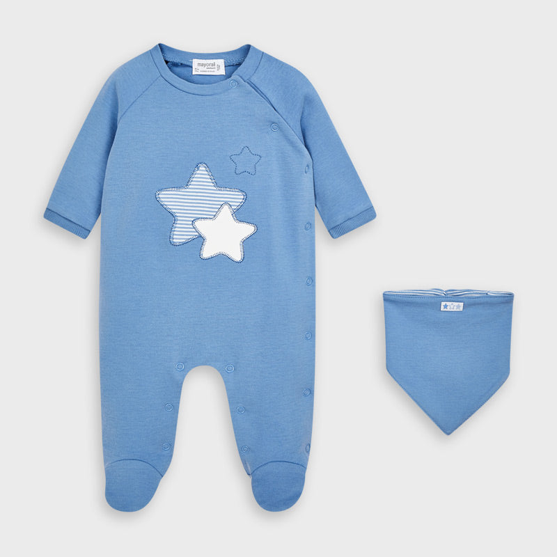 Stars Pajama and Bib Set for Newborn Boy