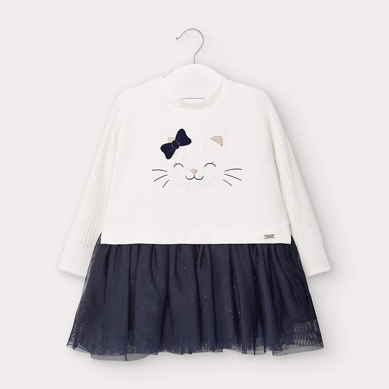 Blue Tulle Long Sleeved Kitty Dress