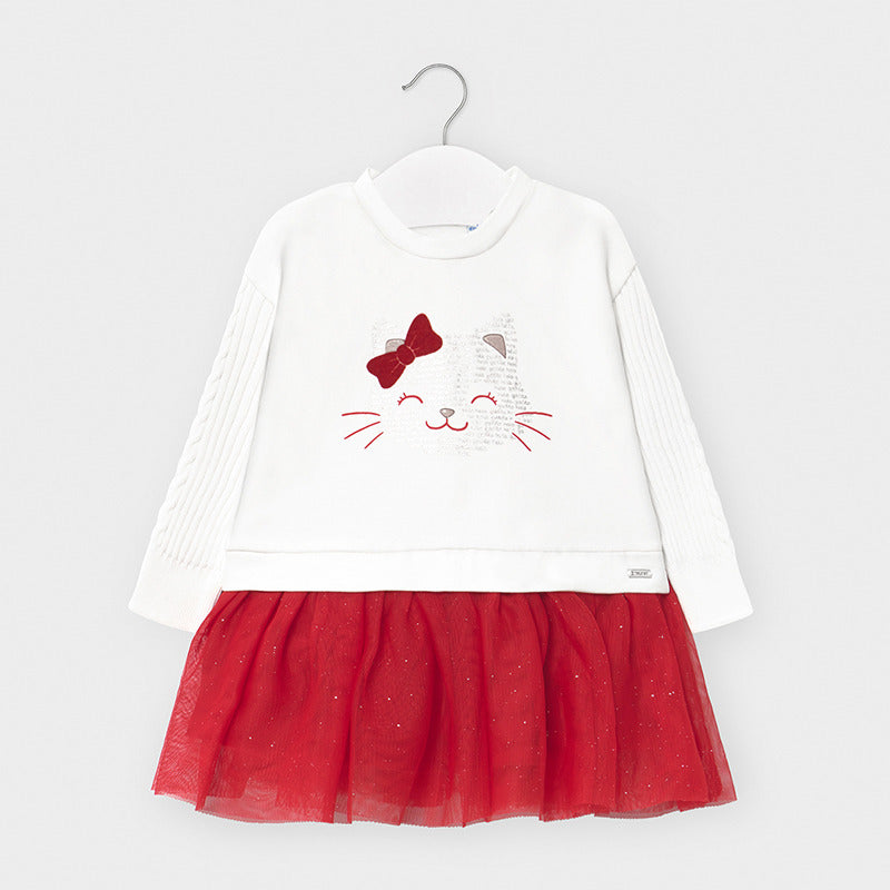 Red Tulle Long Sleeved Kitty Dress