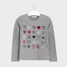 Load image into Gallery viewer, Long Sleeve Hearts and Glitter T-shirt
