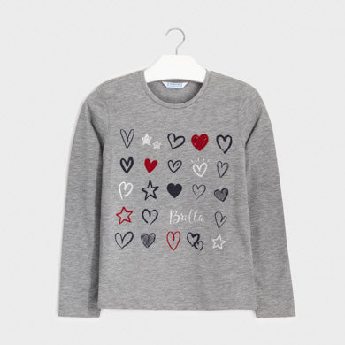 Long Sleeve Hearts and Glitter T-shirt