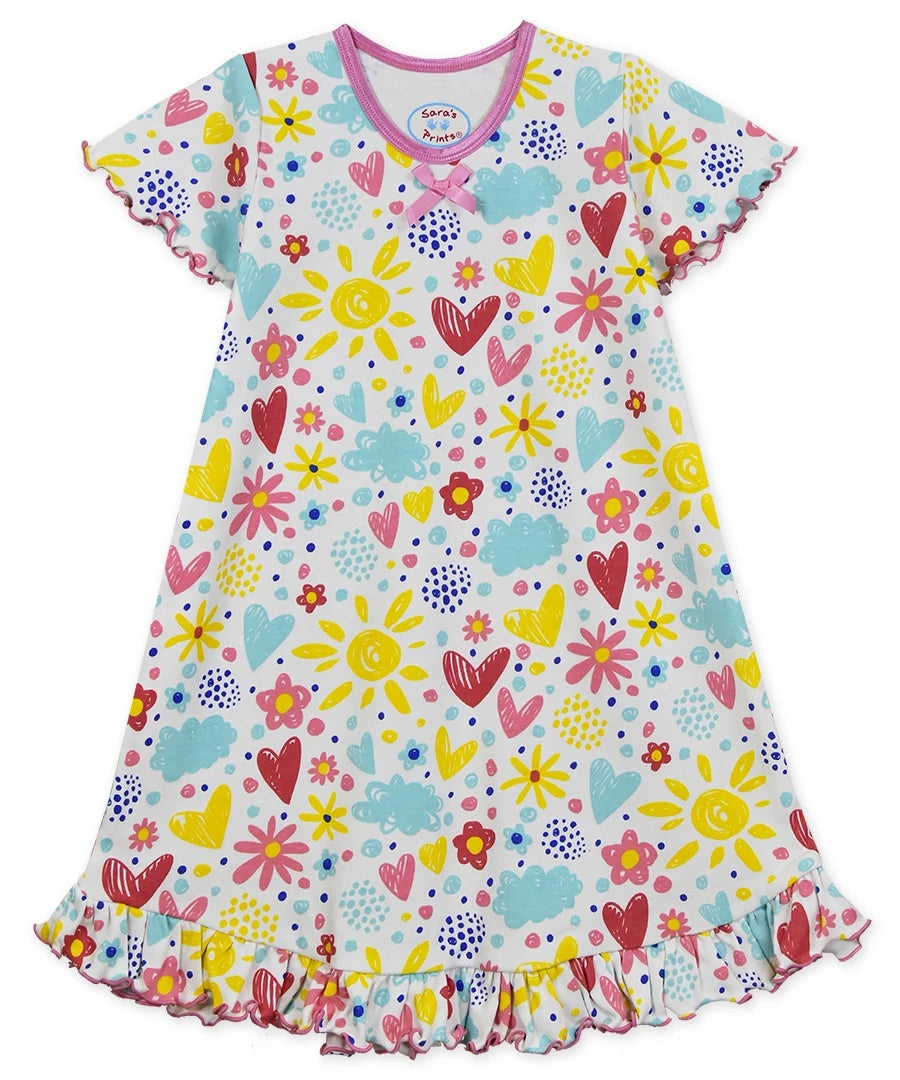 I Love Flowers Short Sleeve Nightgown