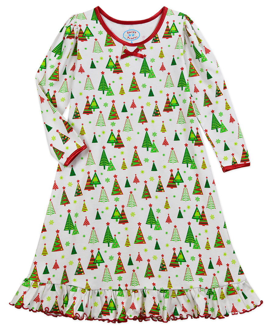 Christmas Trees Long-Sleeve Nightgown