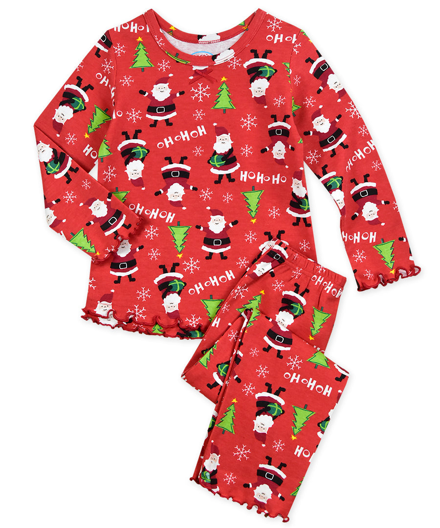 Santa Claus Girls Ruffle Top & Pant Pajama Set