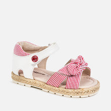 Load image into Gallery viewer, Red Striped Bow Sandals