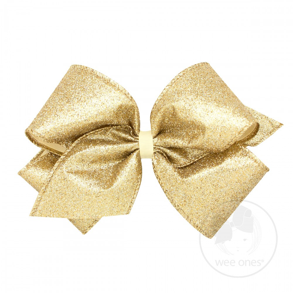 King Party Glitter Hair Bow - Champagne