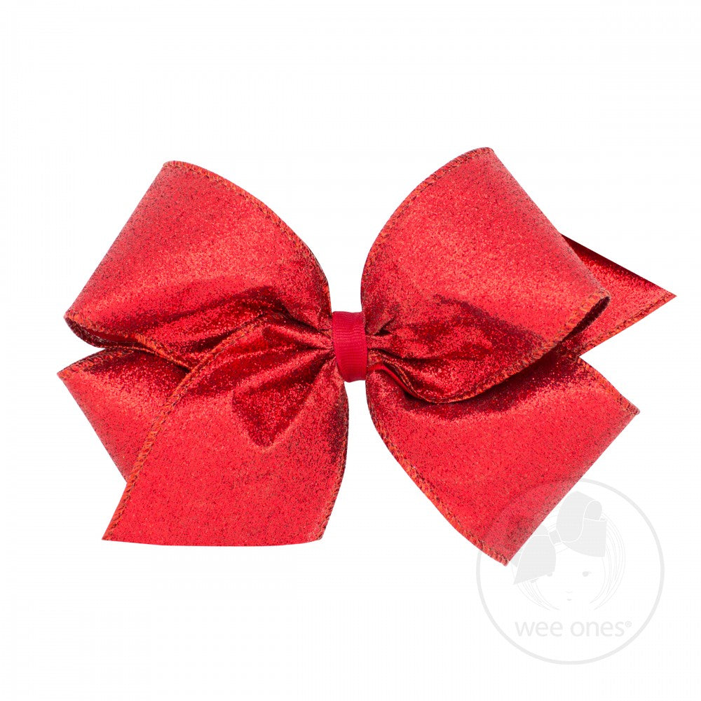 King Party Glitter Hair Bow - Red