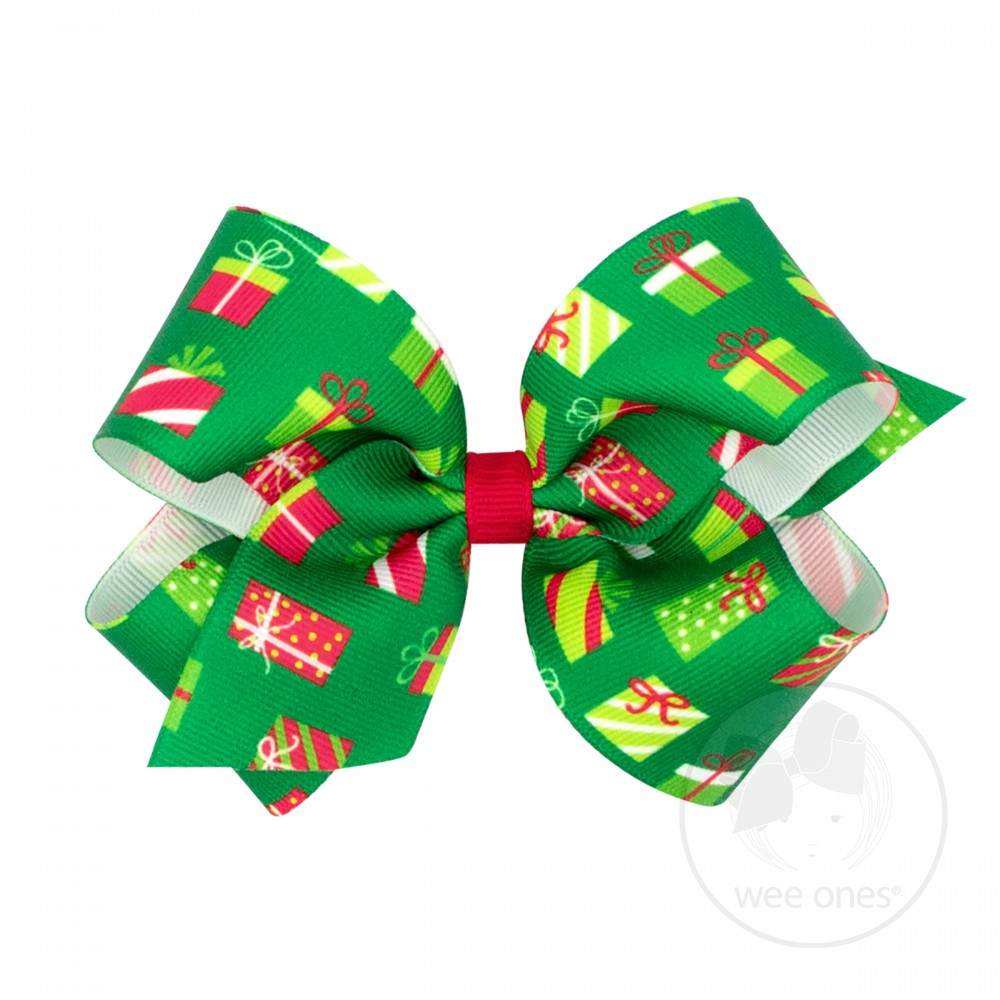 Medium Christmas Print Hair Bow - Christmas Package