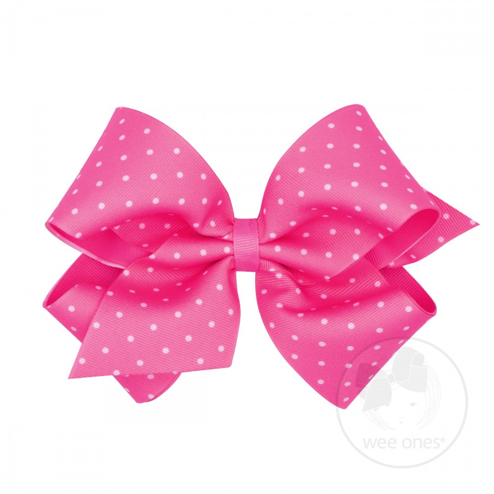 King Dot Print Hair Bow - Hot Pink