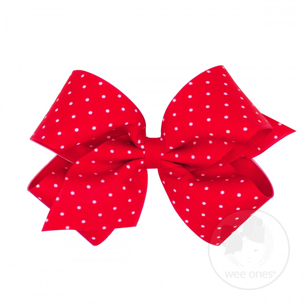 King Dot Print Hair Bow - Poppy