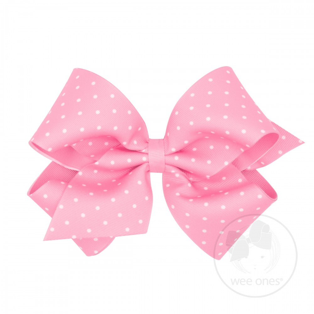 King Dot Print Hair Bow - Pearl Pink