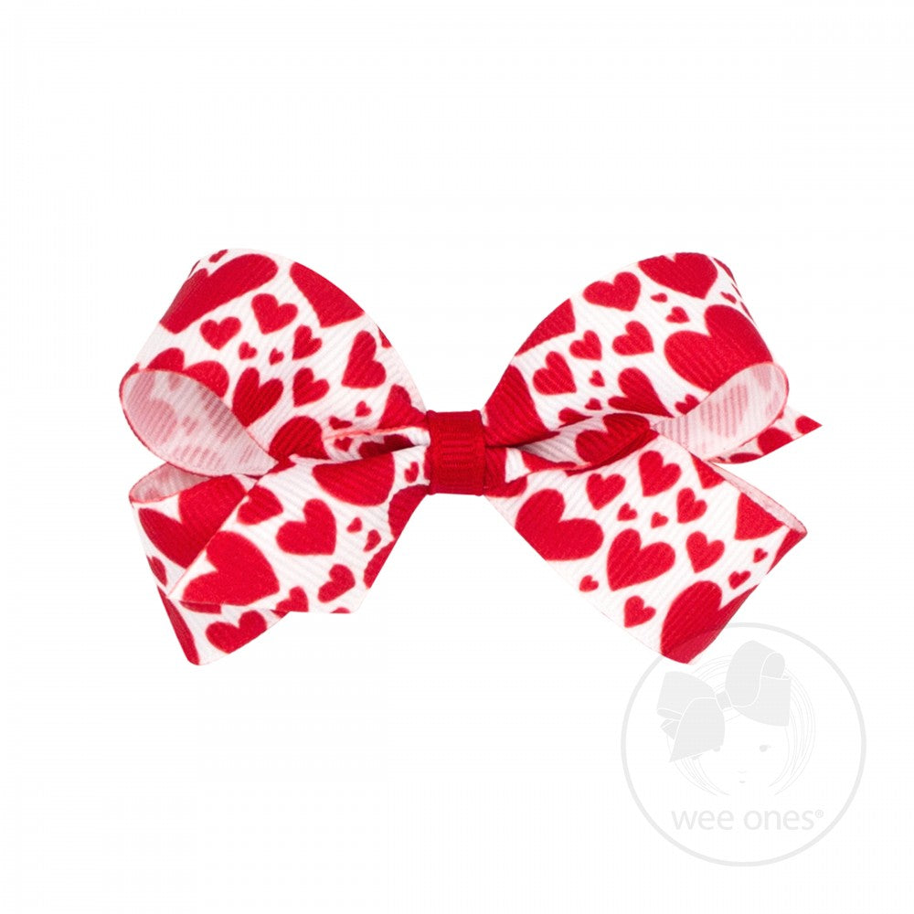 Mini Valentine Heart Print Grosgrain Bow - Red Hearts