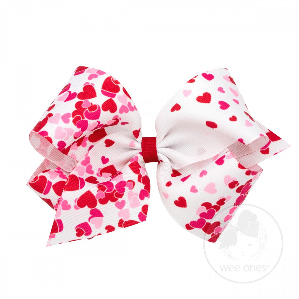 King Valentine Heart Print Grosgrain Bow - Pink & Red Hearts