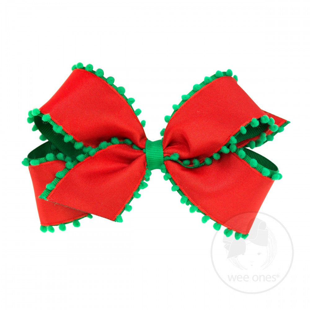 Medium Patterned Holiday Hair Bow - Red with Green Pom