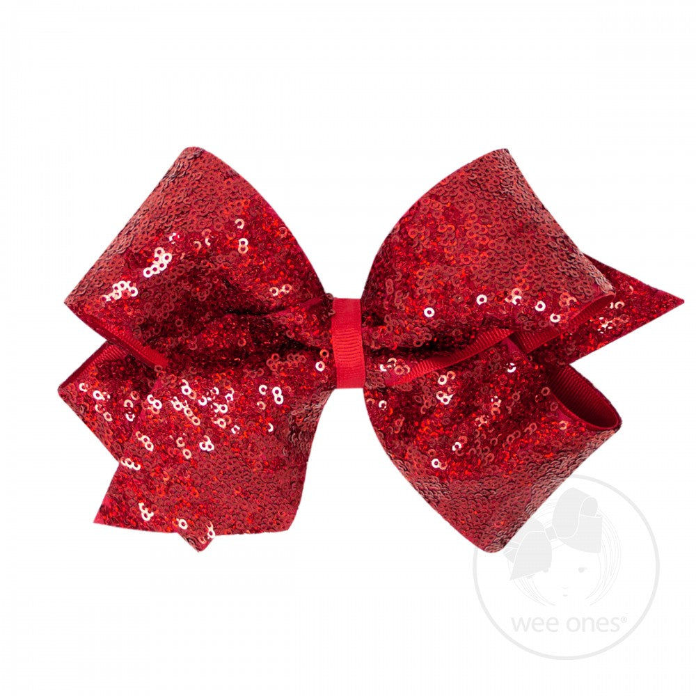 King Sequin Overlay Hair Bow