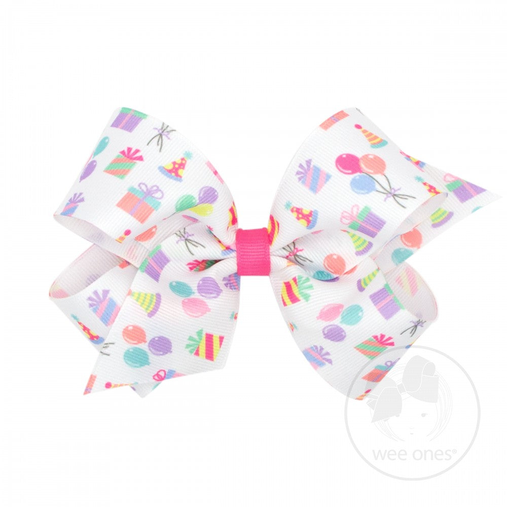 Medium Party Print Grosgrain Bow
