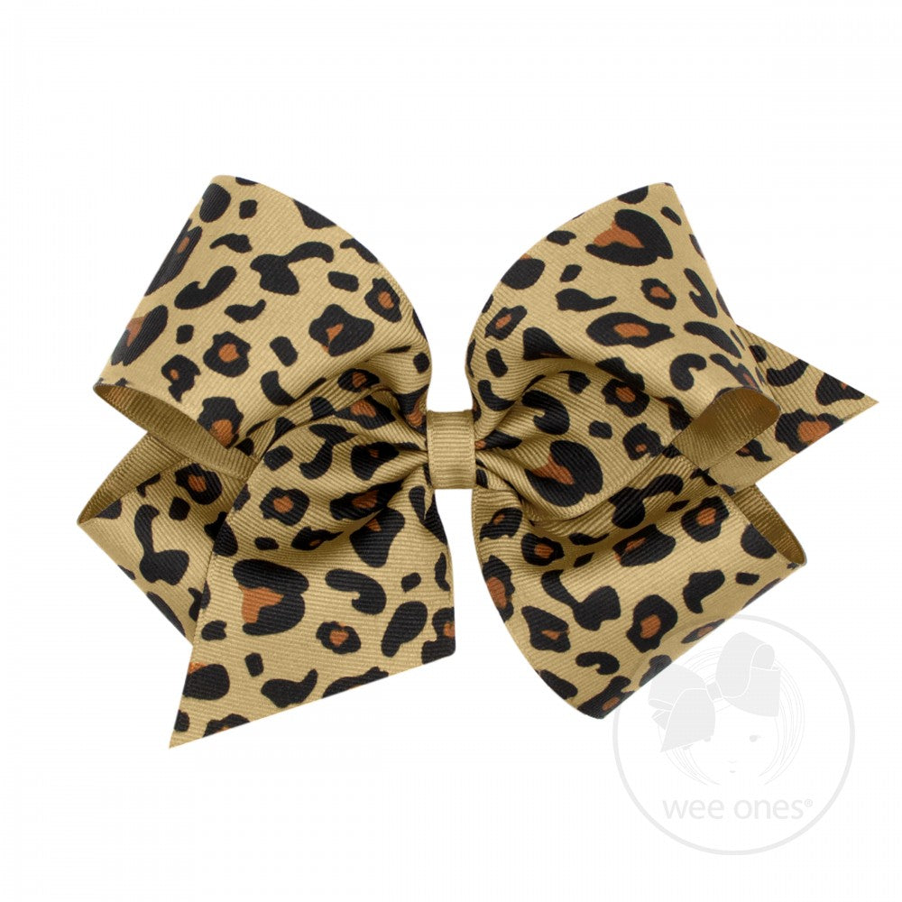 King Leopard Print Grosgrain Bow