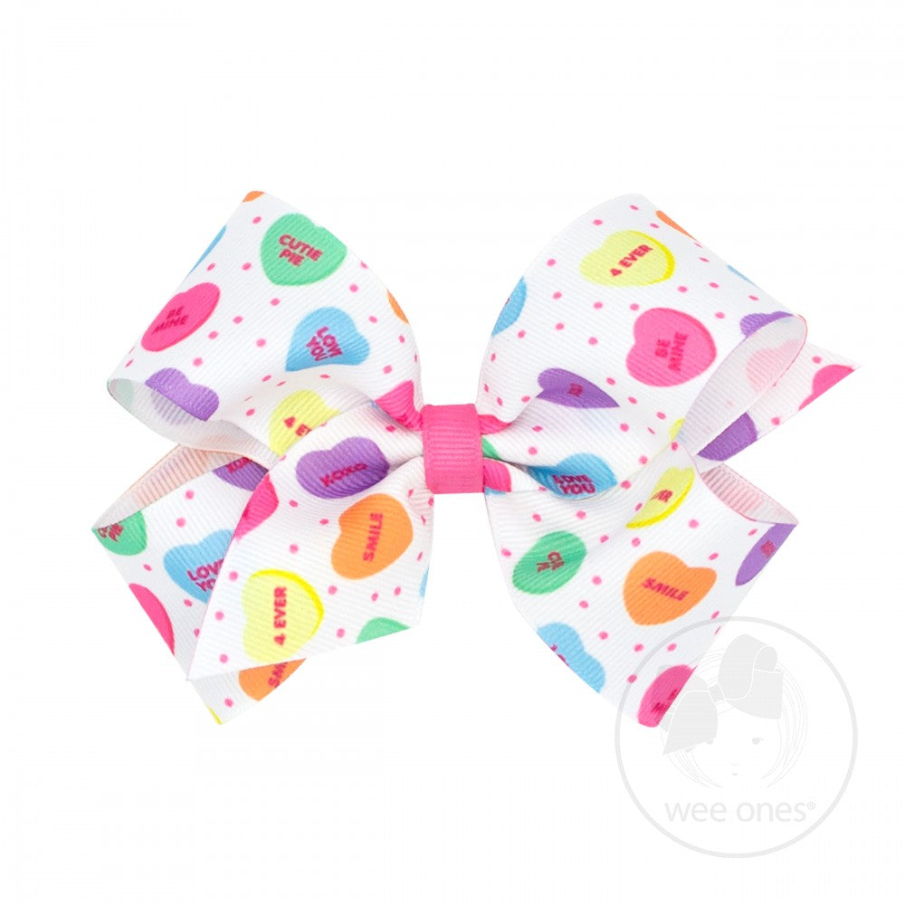 Medium Valentine's Bow with Conversation Hearts