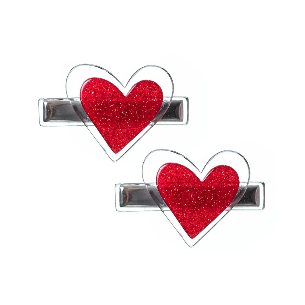 Agatha Heart Alligator Clips - Glitter Red